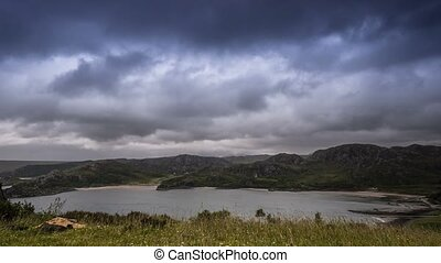 Time Lapse, Stormclouds And Upcoming Rain At Gruinard Bay,...