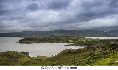 Time Lapse, Stormclouds And Heavy Rain At The Shieldaig...