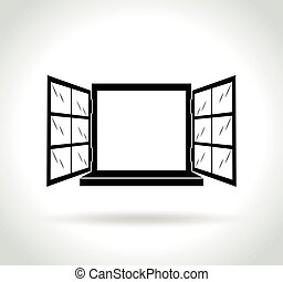 open window icon on white background - Illustration of open...