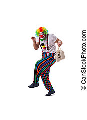 Funny clown with money bags sacks isolated on white...