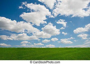 Cloudy sky and green grass in nature concept
