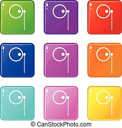 Monocle set 9 - Monocle icons of 9 color set isolated vector...