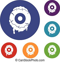 Scary eyeball icons set in flat circle red, blue and green...