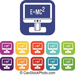 Monitor with Einstein formula icons set vector illustration...