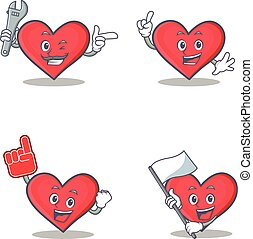 Set of heart character with mechanic foam finger flag