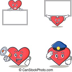 Set of heart character with board megaphone police