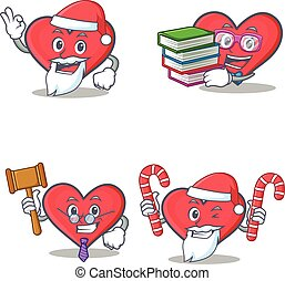Set of heart character with Santa book judge candy