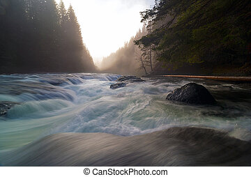 Lower Lewis River Falls During Sunset - Top of Lower Lewis...