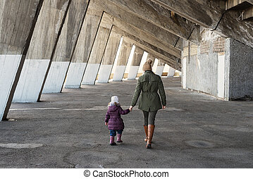 Mother and daughter in a massive grunge constraction -...