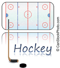 Hockey Field - Illustration of a hockey field, hockey stick...