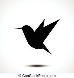 Hummingbird silhouette isolated on white