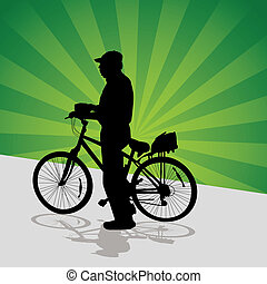 Senior Cyclist - An image of a older man getting ready to...