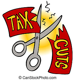 Tax Cuts - An image of a scissors cutting a tax cut paper