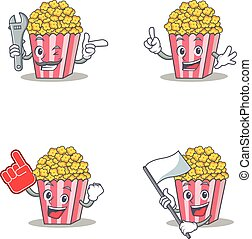 Set of Popcorn character with mechanic foam finger flag