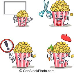 Set of Popcorn character with board barber sign artist