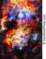 Goddess Womain and lion eye and ornametal mandala in Cosmic...