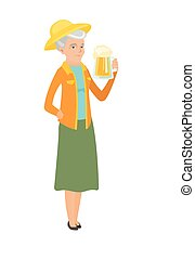 Senior caucasian farmer drinking beer. - Cheerful caucasian...