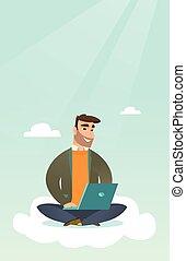 Caucasian man using cloud computing technologies. - Young...