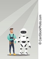 Young caucasian man handshaking with robot. - Young...
