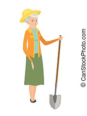 Senior caucasian farmer holding a shovel. - Friendly female...