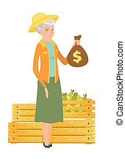 Senior caucasian farmer holding a money bag. - Caucasian...
