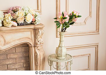 living room interior with classic vase