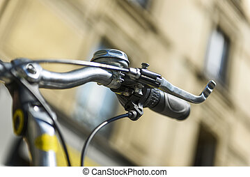 Bicycle in urban situation - Close-up on the bell of a bike,...