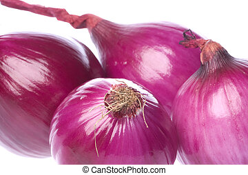 Red Onions Isolated - Isolated macro image of red onions...
