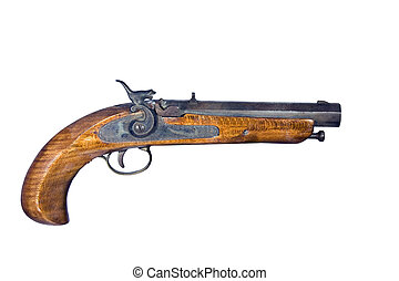 pistola,  FLINTLOCK, isolato