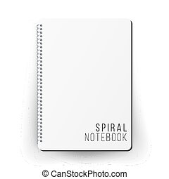 Realistic Note Template Blank. Spiral And Paper. Clean Mock...