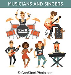 Music band singers, musicians and musical instruments vector...