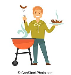 Redhead man cooks delicious barbecue sausages isolated...