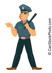 Cheerful police officer in uniform with rubber bat