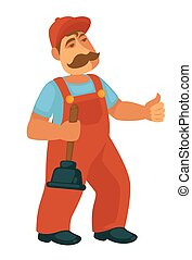 Friendly professional plumber in red overalls with plunger -...