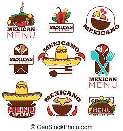 Mexican food cuisine or restaurant menu vector icon...