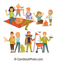 Family hiking picnic or people camping trip and barbecue vector flat icons