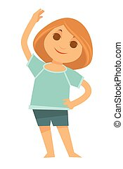 Little redhead girl does morning exercises isolated illustration