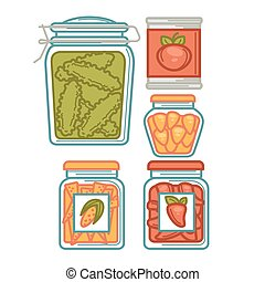 Set of jars with pickles - Vector illustration of conserved...