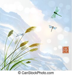 Leaves of grass and clouds in blue sky. Traditional oriental...