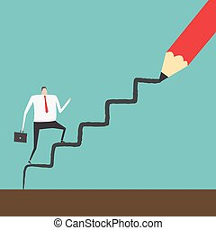 Career path - Businessman climbing up the ladder line draw...