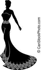 Wedding Silhouette Bride - A bride in silhouette in a...