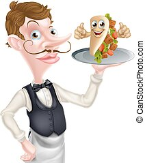 Cartoon Waiter and Thumbs Up Kebab - An Illustration of a...