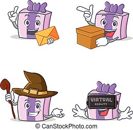 Set of gift character with envelope box witch virtual