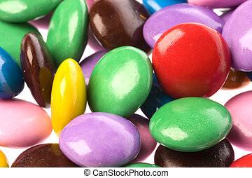 Colourful Chocolate Candies - Isolated macro image of...