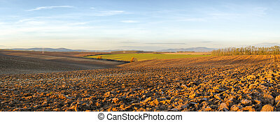Agricultural landscape - Panorama of landscape with blue sky...