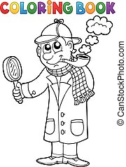 Coloring book detective theme 1 - eps10 vector illustration.