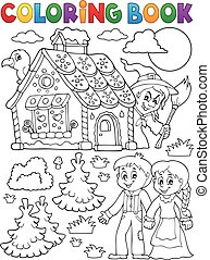 Coloring book Hansel and Gretel 1 - eps10 vector...