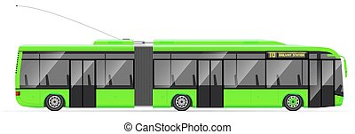 Large articulated trolleybus. Green with modern design. Side...