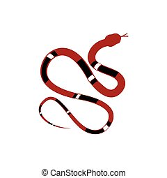 Reptile snake vector - Vector illustration red and black...