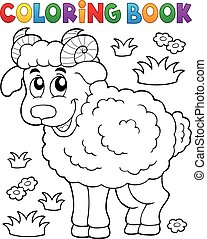 Coloring book happy ram - eps10 vector illustration.